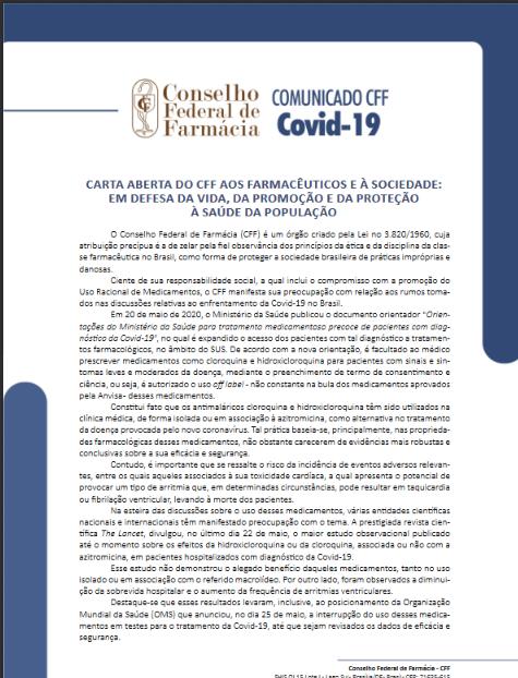 CARTA ABERTA DO CFF AOS FARMACÊUTICOS E À SOCIEDADE: EM DEFESA DA VIDA, DA PROMOÇÃO E DA PROTEÇÃOÀ SAÚDE DA POPULAÇÃO